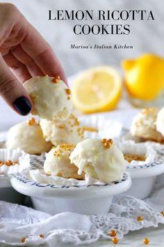 Soft cake like Lemon Ricotta Cookies dipped in a lemon glaze An Italian favourite cookie Italian Ricotta Cookies, Ricotta Dessert, Lemon Ricotta Cookies, Italian Cookie Recipes, Italian Cookies, Italian Desserts, Italian Pastries, Italian Foods, French Pastries