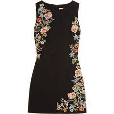 Alice + Olivia Malin embellished stretch-cotton mini dress ($730) ❤ liked on Polyvore featuring dresses, vestidos, black, mini dress, sequin wrap dress, short wrap dress, sequin mini dress and sparkly dresses
