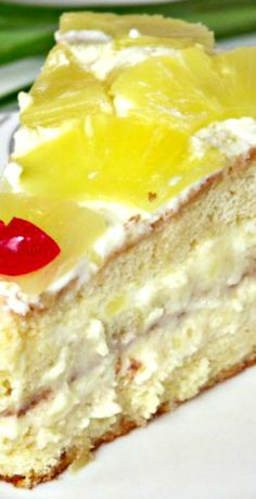 Pineapple Cake with Pineapple Cream Layers Recipe ~ Says: Any Fruit or Berries may be used here instead of the pineapple. I have done it with peaches, mangoes, strawberries & cherries.. & they all were really good