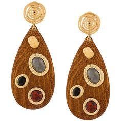 Gas Bijoux Verone earrings ($395) ❤ liked on Polyvore featuring jewelry, earrings, brown, 24k jewelry, 24 karat gold earrings, 24k earrings, 24-karat gold jewelry and leather earrings