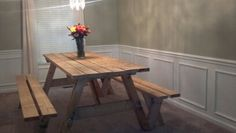Picnic Table Dining Room! I will paint mine a hunter green! simple and fun!