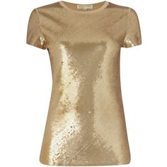 Michael Kors Short sleeve sequin top (3 670 ZAR) ❤ liked on Polyvore featuring tops, khaki, women, michael kors, brown tops, sequin short sleeve top, woven top and sequin top