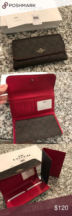 NWT Coach wallet NWT Authentic Coach wallet with pull-out check book fold. 13 card slots, 3 slots to put cash or whatever you want to store. Zipper change pocket in back. Outter is brown with dark brown/black C's Inside is red. Care instructions included. No low balls, MSRP $250. Coach Bags Wallets