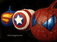 Superhero Painted Pumpkins for #Halloween #captainamerica #spiderman #superman