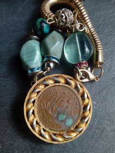 ship necklace, summer, sea themed, sailing, ship assemblage, sea assemblage necklace,  1940s, tall ship, british, 1966, 52 nd birthday, Old Sailing Ships, Summer Necklace, Old Coins, Tall Ships, Turquoise Color, Beautiful Necklaces, Unique Vintage, Bright Pink, Dublin