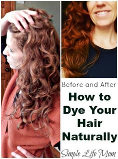 How to Dye Your Hair Naturally – Organic Herbal Hair Dye Instructions step by step – Before and After from Simple Life Mom Organic Hair Dye, Dyed Natural Hair, Natural Hair Styles, Long Hair Styles, Natural Beauty, Herbal Hair Dye, Autogenic Training, Diy Hair Dye, Homemade Hair Dye