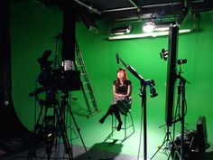 Green screen studio shoot with autocue
