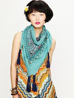 Embroidered Sun Scarf and Awesome Dress. Source: http://www.freepeople.com/sale-all-sale/embroidered-sun-scarf/#