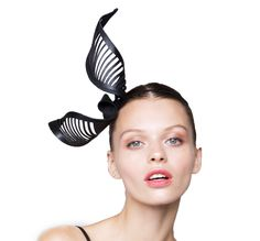 Bowline Crown - Laser cut black leather twisting knot formed fascinator with fine striated cutouts and headband mount. #studioaniss #fascinators #springracing #melbournecup #headpieces #hairaccessories #aniss #hats #leather #leatheraccessories