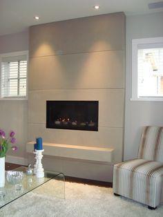 flat modern fireplace tile - Google Search