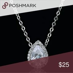 De Pear Ladiette White Gold Pear Shaped Necklace - simply stunning! Brought in to match the popular earrings [Pear be-a lady/Last Pair!]. WG Plated with AAA+ Cz, two available. Total pendant with inlay is  1.9 in length & width is 1cm, stunning brilliance on this cut.  .Ask About Custom Bundles.  .Poshmark Rules Only. No Trades.  .Additional Pics Available as Time Allows. goodchic  Jewelry Necklaces