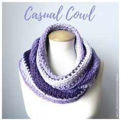 Casual Cowl - #scarfofthemonthclub2017 April  This free crochet pattern is easy to make and uses 1 ball of Caron Cakes! Perfect for gift giving and lovely to wear.
