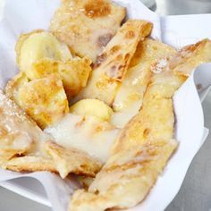 Thai roti with banana, cinnamon and condensed milk