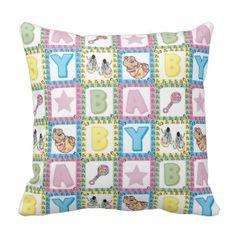 Sweet Baby Girl Squares Throw Pillows