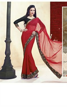 Picture of Trendy Red Color Chiffon Indian Wedding Sarees Online