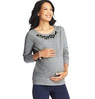 Maternity Floral Gem and Bead Embellished Sweatshirt - Ann Taylor Loft