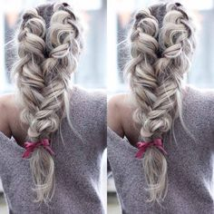 Amazing voluminous braid  Create desired hairstyle adding natural hair extensions to achieve more volume and length