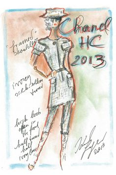 Karl Lagerfeld sketch for Chanel Haute Couture 2013