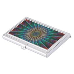 Peacock fractal case for business cards $24.25 *** Multicolor peacock fractal design - business card holder