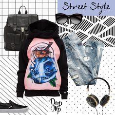 #streetstyle #jeans #spring #hoodie #girl #headphones #black #pink #backpack
