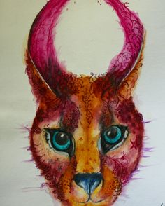 Ink african animals - Caracal by #joannacookeart.com