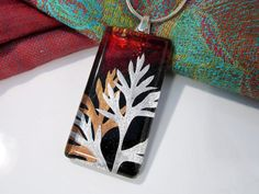 """Real Carrot leaf necklace  Rectangle Glass Tile 17/8"""" x 7/8""""Silver Plated Bail with 5mm x 5mm Eyelet Backing - epoxy resin"""