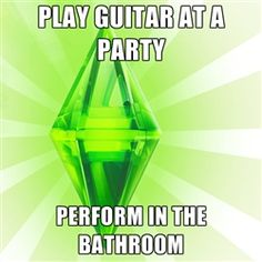 Sims - Play guitar at a party perform in the bathroom