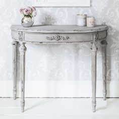 Grey French shabby chic Console Table - A simple French grey demi-lune (half-moon) console table. It has floral carved details across the front and is finished in distressed stone grey Shabby Chic Console Table, Half Moon Console Table, Half Moon Table, French Console Table, Half Table, Console Tables, French Furniture, Shabby Chic Furniture, Vintage Furniture