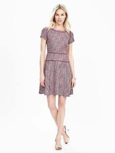 Banana Republic, Tweed Fit-and-Flare dress in dusty pink, $138. Nice.