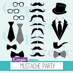 """Mustache party clipart: """"MUSTACHE PARTY"""" digital clipart pack with mustaches, glasses, bowties, suits for scrapbooking, cards, invites"""