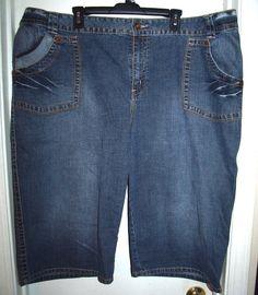 Venezia Denim Blue Jean Shorts 5 Pocket Zip Fly Plus Size 28 #Venezia #Denim