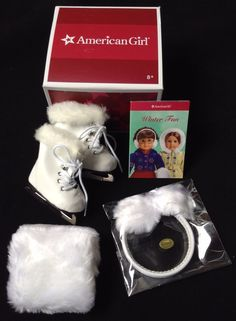 American Girl Doll MOLLY SKATES & MUFFS, NEW in box, Retired set #AmericanGirl