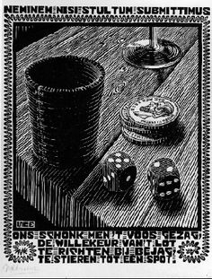 "M. C. Escher- XXIV Emblemata, ""Dice""- Between March and June 1931, Woodcut."