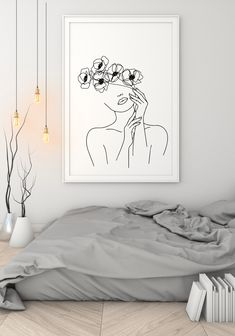 Woman with Flowers Line Art Print, Woman Face Single Line Drawing, Female Face in Flowers Boho Art, Minimalist Black and White Printable Art House Painting, Painting & Drawing, Art Sketches, Art Drawings, Minimal Art, Single Line Drawing, Landscape Artwork, Contemporary Landscape, Decorating Bookshelves
