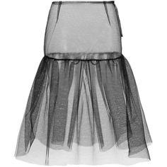 Simone Rocha Black Tulle Under Skirt ($725) ❤ liked on Polyvore featuring skirts, tulle skirt, simone rocha, sheer skirt, black ruched skirt and knee length tulle skirt