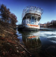 This was a big party ship in river Tisza, Hungary... now she's getting rusty and sinking...