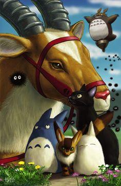 DesertRose,;,Dessin hommage aux animaux de Ghibili,;,