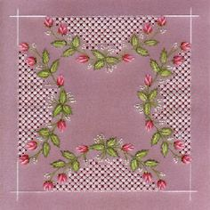 Rosebuds Parchment Card on Craftsuprint designed by Susan McGuirk - made by   - This beautifully delicate rosebud border with lace panels uses basic embossing and perforating skills and is suitable for a range of occasions. - Now available for download!