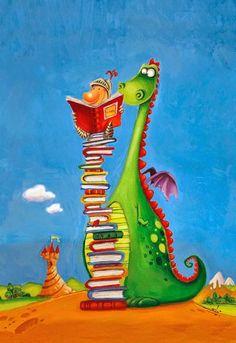 Feliz Día de San Jorge, entre libros / Happy St. George's Day, between books (ilustración de Subi)