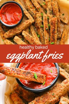 Crispy Healthy Baked Eggplant Fries that are gluten-free and so easy to make! Chickpea breadcrumbs stuck to soft and tasty eggplant all baked to oven-fried perfection and matched with a delicious marinara dipping sauce! Oven Fried Eggplant, Fried Eggplant Recipes, Best Eggplant Recipe, Crispy Eggplant, Eggplant Dishes, Veggie Snacks, Vegetable Recipes, Egg Plant Recipes Healthy, Baked Vegetables