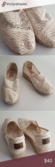 Bobs from Skechers Crochet Wedge Espadrilles Like NEW Bobs from Skechers Memory Foam Crochet Wedge Espadrilles. Size 8. EUC - Worn once! No box. Skechers Shoes Espadrilles
