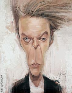 Caricatura del gran músico británico David Bowie, realizada por el artista Sergio Matamoros.     Ca...