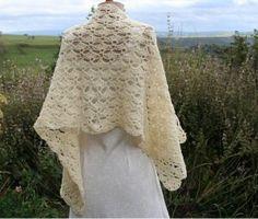 étole vintage dentelle pure laine