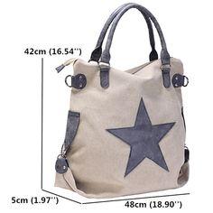 c746a7597b4 Women Star Canvas Tote Handbags Retro Shoulder Bags Capacity Shopping  Crossbody - US$33.99 Modehandtassen,