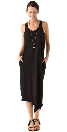 Slim Slant Midi Tank Dress