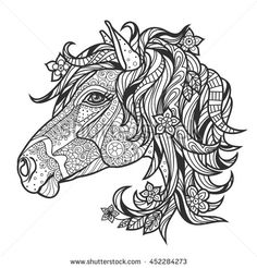 Coloring page book for adults and older children with the image of a horse's head.
