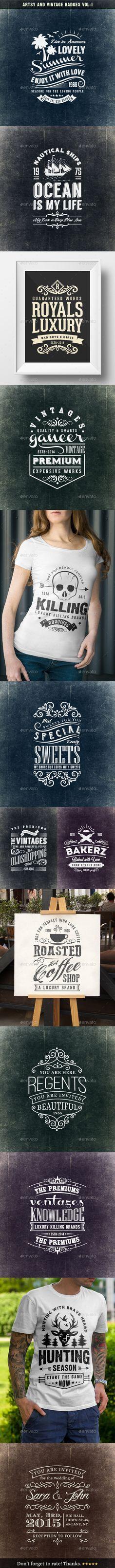 Artsy and Vintage Badges #design #badges Download: http://graphicriver.net/item/artsy-and-vintage-badges-voli/10945826?ref=ksioks