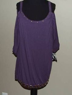 Baby Phat Plus Size Womens Cold Shoulder Embellished Top Tunic Purple 1X