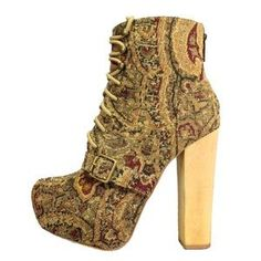 STEVE MADDEN WOOD BLOCK HEEL CARNBY TAPESTRY BOOTS. Check it out! Price: $70 Size: 6