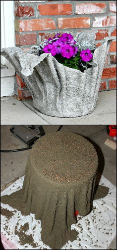 Turn an old towel into a stunning concrete planter!  It might seem like an expert's job but this planter is a very basic concrete project...  Get more concrete towel planter ideas from our album and learn how to do it by heading over to the step-by-step tutorial!  http://diyprojects.ideas2live4.com/2016/02/15/a-planter-from-an-old-towel/ Stool, Noodle, Chairs